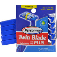 Personna Disposable Razors with Lubricating Strip - Twin Blade Plus - 5 Pack