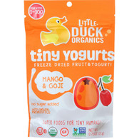 Little Duck Organics Freeze Dried Fruit and Yogurt - Tiny Yogurts - Organic - Mango and Goji - Ages 1 Year Plus - .75 oz - case of 6