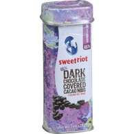 Sweetriot Cacao Nibs - Flavor 65 - 65 Percent Dark Chocolate Covered - 1 oz Tins - Case of 12