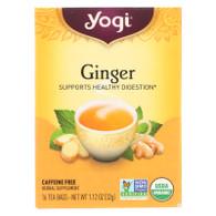 Yogi Organic Herbal Tea Caffeine Free Ginger - 16 Tea Bags - Case of 6