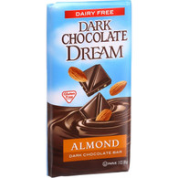 Dream Bar Chocolate Bars - 100 Percent Dairy Free - Dark Chocolate - Almond - 3 oz Bars - Case of 12