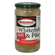 Manischewitz Reduced Sodium Whitefish and Pike in Jelled Broth - Case of 12 - 24 oz.