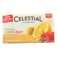Celestial Seasonings Herbal Tea Caffeine Free Lemon Zinger - 20 Tea Bags - Case of 6