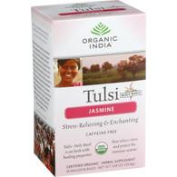 Organic India Organic Tulsi Tea - Jasmine - Caffeine Free - Infusion Bags - 18 Tea Bags - Case of 7
