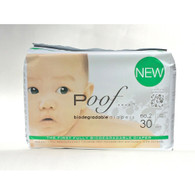 Poof Bio Disposable Diapers - Chlorine Free - Antibacterial - Size 2 - Taupe Chinoiserie - Case of 4 - 30 CT