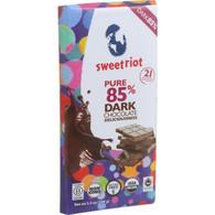 Sweetriot Organic Chocolate Bar - riotBar - 85 Percent Dark Chocolate - 3.5 oz Bars - Case of 12
