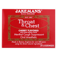 Jakemans Throat and Chest Lozenges - Cherry - 24 Pack