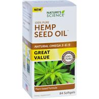 Natures Science Hemp Seed Oil - 100 Percent Pure - 84 Softgels