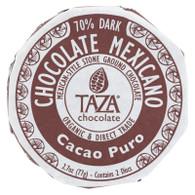 Taza Chocolate Organic Chocolate Mexicano Discs - 100 Percent Dark Chocolate - Cacao Puro - 2.7 oz - Case of 12