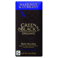 Green and Black's Organic Chocolate Bars - Dark Chocolate - 60 Percent Cacao - Hazelnut and Currant - 3.5 oz Bars - Case of 10