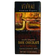 Vivani Organic Chocolate Bar - Dark Chocolate - 70 Percent Cocoa - Espresso - 3.5 oz Bars - Case of 10
