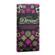 Divine Chocolate Bar - Dark Chocolate - 70 Percent Cocoa - Raspberries - 3.5 oz Bars - Case of 10