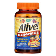 Nature's Way Alive Gummies Multi-Vitamin for Children Natural Cherry, Grape and Orange - 90 Gummies