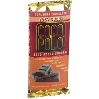 Coco Polo Chocolate Bar - 70 Percent Dark Chocolate - Case of 12 - 3 oz Bars