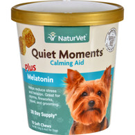 NaturVet Calming Aid - Plus Melatonin - Quiet Moments - Dogs - Cup - 70 Soft Chews