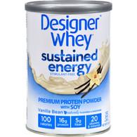 Designer Whey Protein Powder - Sustained Energy Vanilla Bean - 12 oz