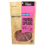 Woodstock Fruit - All Natural - Papaya  - Spears - Low Sugar - Unsulphured - 9 oz - case of 8