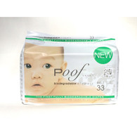 Poof Bio Disposable Diapers - Chlorine Free - Antibacterial - Size 1 - Taupe Chinoiserie - Case of 4 - 33 CT