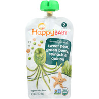 Happy Baby Baby Food - Organic - Homestyle Meals - Stage 2 - Sweet Peas Green Beans Spinach and Quinoa - 3.5 oz - case of 16