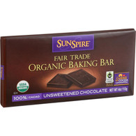 SunSpire Foods Baking Bar - Organic - Fair Trade - 100 Percent Cocoa - 4 oz Bars - Case of 12