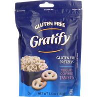 Gratify Pretzels - Twists - Yogurt Covered - Gluten Free - 5.5 oz - case of 8