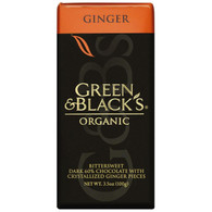 Green and Black's Organic Chocolate Bars - Dark Chocolate - 60 Percent Cacao - Ginger - 3.5 oz Bars - Case of 10