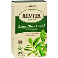 Alvita Organic Green Tea Herbal Supplement - Decaf - 24 Tea Bags