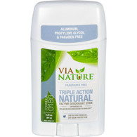 Via Nature Deodorant - Stick - Fragrance Free - 2.25 oz