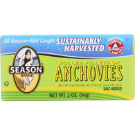 Season Brand Anchovies - Rolled Fillets - Salt Added - 2 oz - case of 25