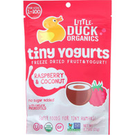 Little Duck Organics Freeze Dried Fruit and Yogurt - Tiny Yogurts - Organic - Raspberry and Coconut - Ages 1 Year Plus - .75 oz - case of 6