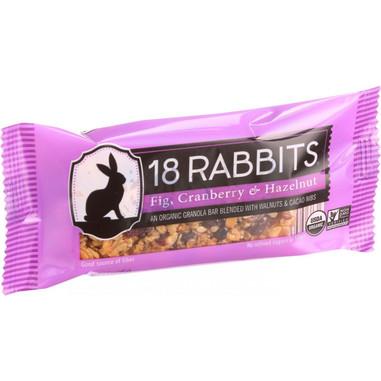 18 Rabbits Organic Granola Bar - Fig Cranberry and Hazelnut - Case of 12 - 1.6 oz Bars