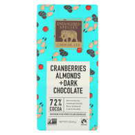 Endangered Species Natural Chocolate Bars - Dark Chocolate - 72 Percent Cocoa - Cranberries and Almonds - 3 oz Bars - Case of 12
