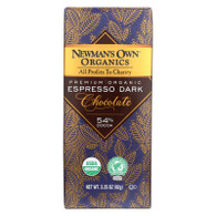 Newman's Own Organics Chocolate Bar - Organic - Dark Chocolate - Espresso - 3.25 oz Bars - Case of 12