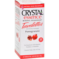Crystal Essence Mineral Deodorant Towelettes Pomegranate - 24 Towelettes