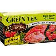Celestial Seasonings Green Tea Raspberry Gardens - 20 Tea Bags - Case of 6