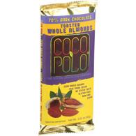 Coco Polo Chocolate Bar - 70 Percent Dark Almond - Case of 10 - 2.82 oz Bars