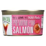 Natural Sea Salmon - Premium Pink - Wild Alaska - No Salt Added - 7.5 oz - case of 12