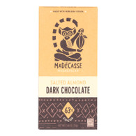 Madecasse Chocolate Bars - 70 Percent Dark Chocolate - Salted Almond - 2.64 oz Bars - Case of 10
