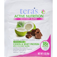 Teras Whey Protein Powder - Casein and Whey - Active Nutrition - Recovery Blend - Fair Trade Certified Dark Chocolate - 1 oz - Case of 12