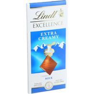 Lindt Chocolate Bar - Milk Chocolate - 31 Percent Cocoa - Extra Creamy - 3.5 oz Bars - Case of 12