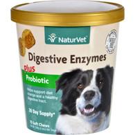 NaturVet Digestive Enzymes - Plus Probiotics - Dogs - Cup - 70 Soft Chews