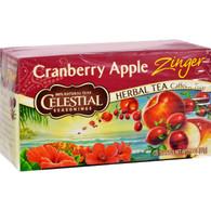 Celestial Seasonings Herbal Tea Caffeine Free Cranberry Apple Zinger - 20 Tea Bags - Case of 6