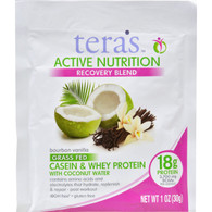 Teras Whey Protein Powder - Casein and Whey - Active Nutrition - Recovery Blend - Bourbon Vanilla - 1 oz - Case of 12