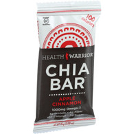 Health Warrior Chia Bar - Apple Cinnamon - .88 oz Bars - Case of 15