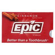 Epic Dental Cinnamon Gum - Xylitol Sweetened - Case of 12 - 12 Pack