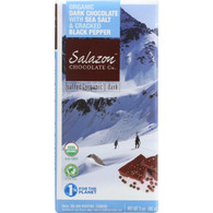Salazon Chocolate Bar - Organic - 57 Percent Dark Chocolate - Sea Salt and Pepper - 2.75 oz - case of 12