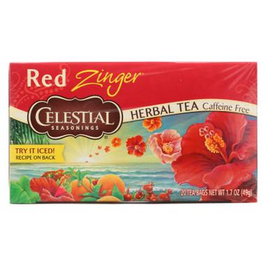 Celestial Seasonings Herbal Tea Caffeine Free Red Zinger - 20 Tea Bags - Case of 6