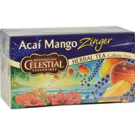 Celestial Seasonings Herbal Tea Caffeine Free Acai Mango Zinger - 20 Tea Bags - Case of 6