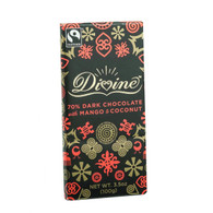 Divine Chocolate Bar - Dark Chocolate - 70 Percent Cocoa - Mango and Coconut - 3.5 oz Bars - Case of 10