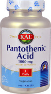 KAL Pantothenic Acid -- 1000 mg - 100 Tablets
